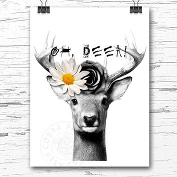 Oh, Deer! Poster, Greeting Card, Printable Digital Download, Home, Office Wall Decor, Antler, Buck Tribal Art - Nursery Print CP-783