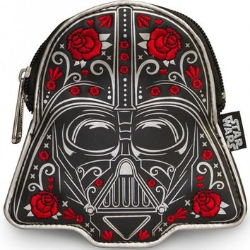 """Darth Vader Floral"" Faux Leather Coin Bag by Loungefly (Black)"