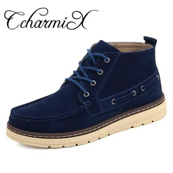 CcharmiX Chukka Boots Men Work&Safety Cow Suede Mens Ankle Boots Male Leather Winter Booty Plush Fashion Warm Shoes Size 38-46