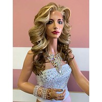 "Balayage Honey Blonde SWISS Lace Front Wig 14"" 0619 Miss Miranda"