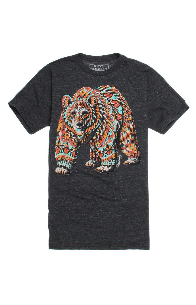 Riot society ornate grizzly bear t shirt from pacsun my fashion