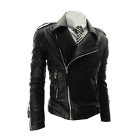 West Street Haku [3 COLORS] Men's Faux Leather Solid Motorcycle Jacket