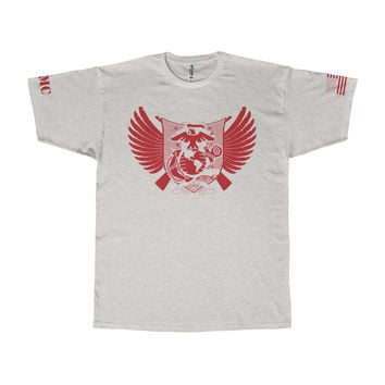 Marine Corps Wings Design with USMC and Flag on Sleeves T-Shirt
