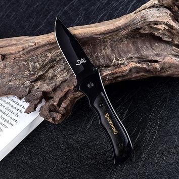 Browning Folding Blade Knife Hunting Survival Knives With Wood Handle Mini Tactical Folding Pocket Knife Outdoor EDC Tools
