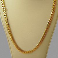 "14K Gold Miami Men's Cuban Curb Link Chain Necklace Heavy 102.2 Grams 24"" 7mm"