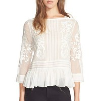Rebecca Taylor Embroidered Paisley Peplum Top | Nordstrom