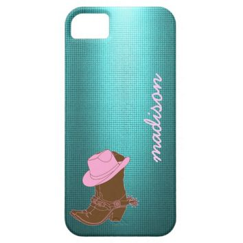 Cute Cowgirl phone; boot w/ hat on Aqua, add name
