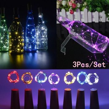 3Pcs Wine Stopper Lamp Starry Copper Wire Light Strip String Lamp Cork Shaped LED Decor For Home Party Wedding Garden New Year