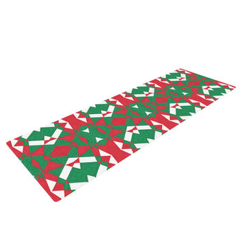 "Empire Ruhl ""Christmas Geo"" Red Green Yoga Mat"