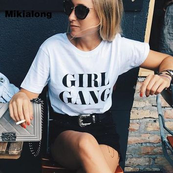 OLN GIRL GANG Letter T Shirt Women summer 2017 Harajuku Cotton Tee Shirt Femme Black White Casual T-shirt Women Tops