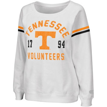 Tennessee Volunteers Womens Tailgate Boatneck Sweatshirt - White