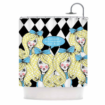 "Zara Martina Mansen ""Curious Alice"" Blue Black Shower Curtain"
