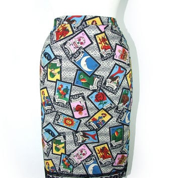 Mexican Loteria Rockabilly Pencil Skirt