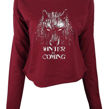 Winter is Coming womens ladies print sweatshirt games of thrones crop top sweatshirt jumper pullover