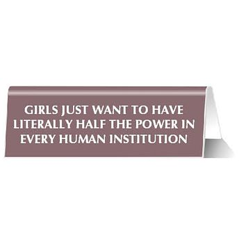 Girls Just Want to Have Literally Half The Power In Every Human Institution Nameplate Desk Sign in Mauve Pink
