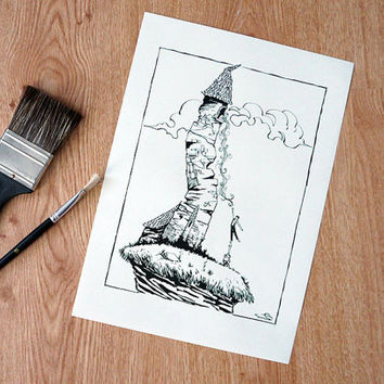 Rapunzel in the tower, illustration -  fairy tail Art  - Black and White Art print from an original illustration done by us