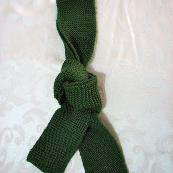 Scarf Evergreen Scarf Handknit Recycled Yarn by casacampbell