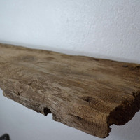 Well weathered unique very rustic wood wall shelf 33 x 9+