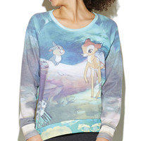 Bambi Sublimated Woven Back Sweatshirt | Wet Seal