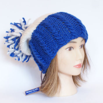 Irish handknit blue and white team hat slouchy hats with pompom fun knitted wool hats for adult teenager child chunky yarn