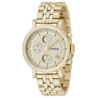 Fossil ES2197 Women's Dress Chronograph Gold Tone Stainless Steel Watch
