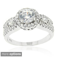 Icz Stonez Sterling Silver Cubic Zirconia Engagement Ring | Overstock.com