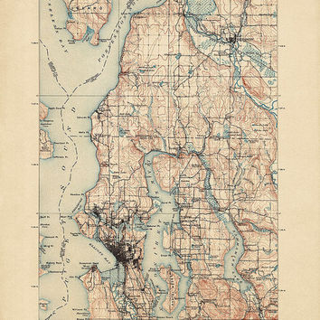 Antique Map of Seattle, Washington (1897) - USGS Topographic Map - 16x20 - Archival Reproduction