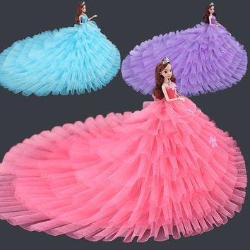 Saleaman New Arrival Doll Clothes Beautiful Wedding Dress Beautiful DIY Handmade Party Dress For baby Doll Toys For Children