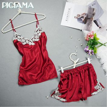 Women 2 Piece Silk Lace Trimmed Camisole And Shorts Sleep Set