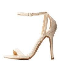 Natural Single Sole Ankle Strap Heels by Charlotte Russe