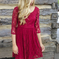 Fountains of Bellagio Red Lace Dress With Open Back & Lace Straps