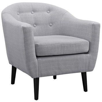 Modway Wit Armchair in Button Tufted Light Gray Fabric on Wood Legs