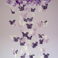 Butterfly Mobile - Purple, Lavender, And White Nursery Mobile | Luulla