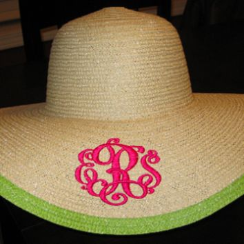 Monogrammed Derby Hat - Floppy Lime Outline
