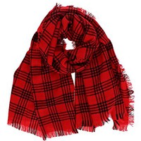 7 Seas Republic Women's Fringed Plaid Oblong Scarf