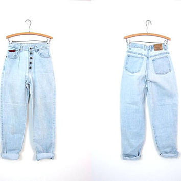 80s Light Blue Jeans BUTTON FLY Jeans Straight Leg High Waist Boyfriend Mom Jeans Dungarees Jeans Vintage Hipster Denim Womens 9 Waist 26""