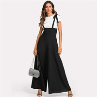 Straps Office Ladies Workwear Elegant Wide Leg Jumpsuit High Waist Plain Knot Loose Women Jumpsuit