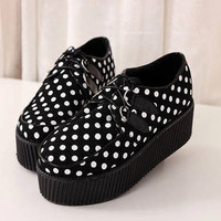 CREEPERS shoes POLKA DOT pattern 90s grunge