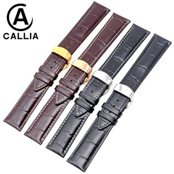 12 14 16 18 19 20mm 21mm 22mm 24mm Soft High Quality Genuine Leather Alligator Grain Watch Strap Band for Mido Calf Watchband