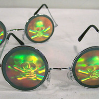SKULL X BONES HOLOGRAM SUNGLASSES novelty poker glasses skull cross bone pirate