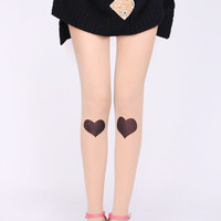 ROMWE | Black Heart Print Nude Tights, The Latest Street Fashion