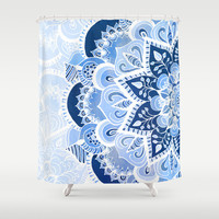 Lacy Blues Shower Curtain by Tangerine-Tane