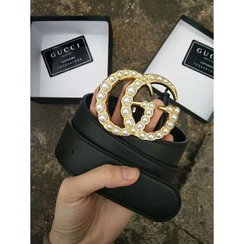 GUCCI Trending Women Men Stylish Delicate Pearl Smooth Buckle Leather Belt I/A
