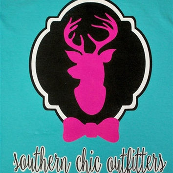 Southern Chics  Deer Bow Hunt Country Girlie Comfort Colors Bright T Shirt