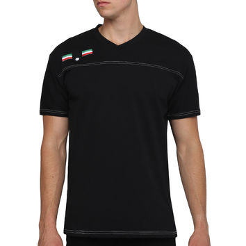 Mens Casual Button Design Short Sleeve V Neck T Shirt with Color Contrast Stitch