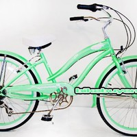 "Micargi Rover 7-speed 24"" for Women (Mint green), Beach Cruiser Bike Schwinn Nirve Firmstrong Style"