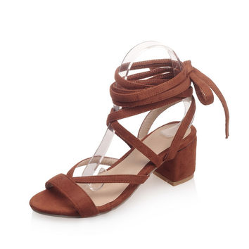 Fashion Leather Cross-Strap Casual sandals  heel Cross-tied high heels summer shoes