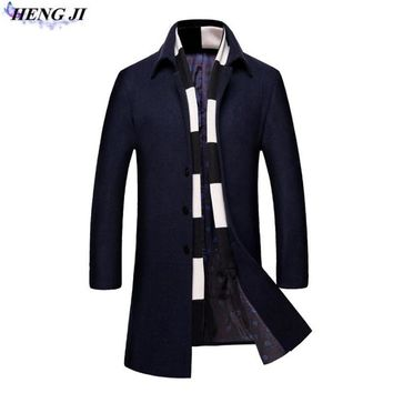 Autumn 2017 new men's coat, business casual wool woolen cloth coat, add cotton to thicken, slim, high quality, free shipping