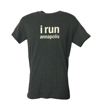 "Men's ARS ""I run annapolis"" Technical T- Shirts - Charcoal"