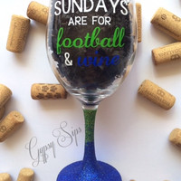 Sundays are for football & wine // Glitter Dipped Wine Glass